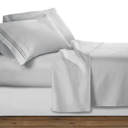 Clara Clark Premier 1800 Collection Deluxe Microfiber Three Line Bed Sheet  Set, Silver Light Gray