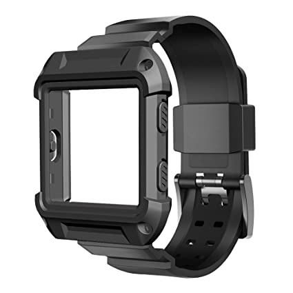 reputable site 18f00 4ead7 Fitbit Blaze Accessory, UMTELE [Rugged Pro] Resilient Protective Case with  Strap Bands for Fitbit Blaze Smart Fitness Watch (Black)