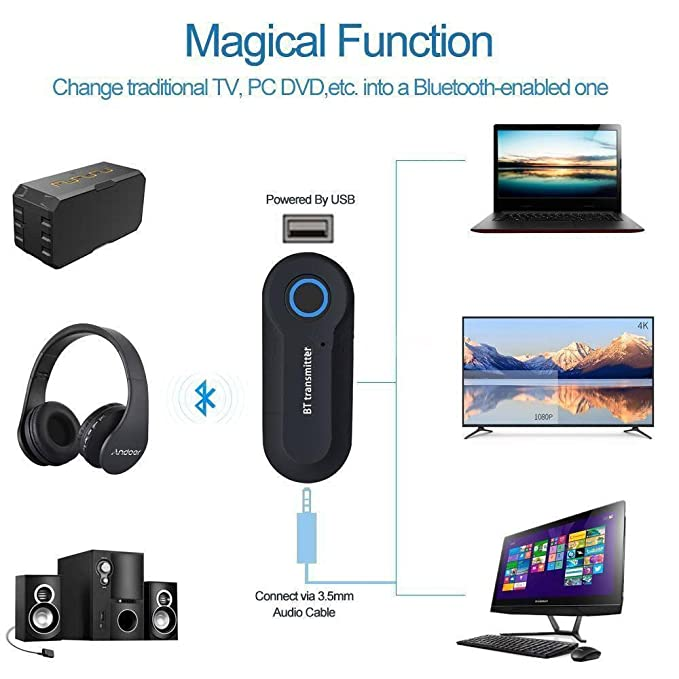 Wireless Bluetooth Transmitter Stereo Audio Music Adapter for TV Phone Rapture