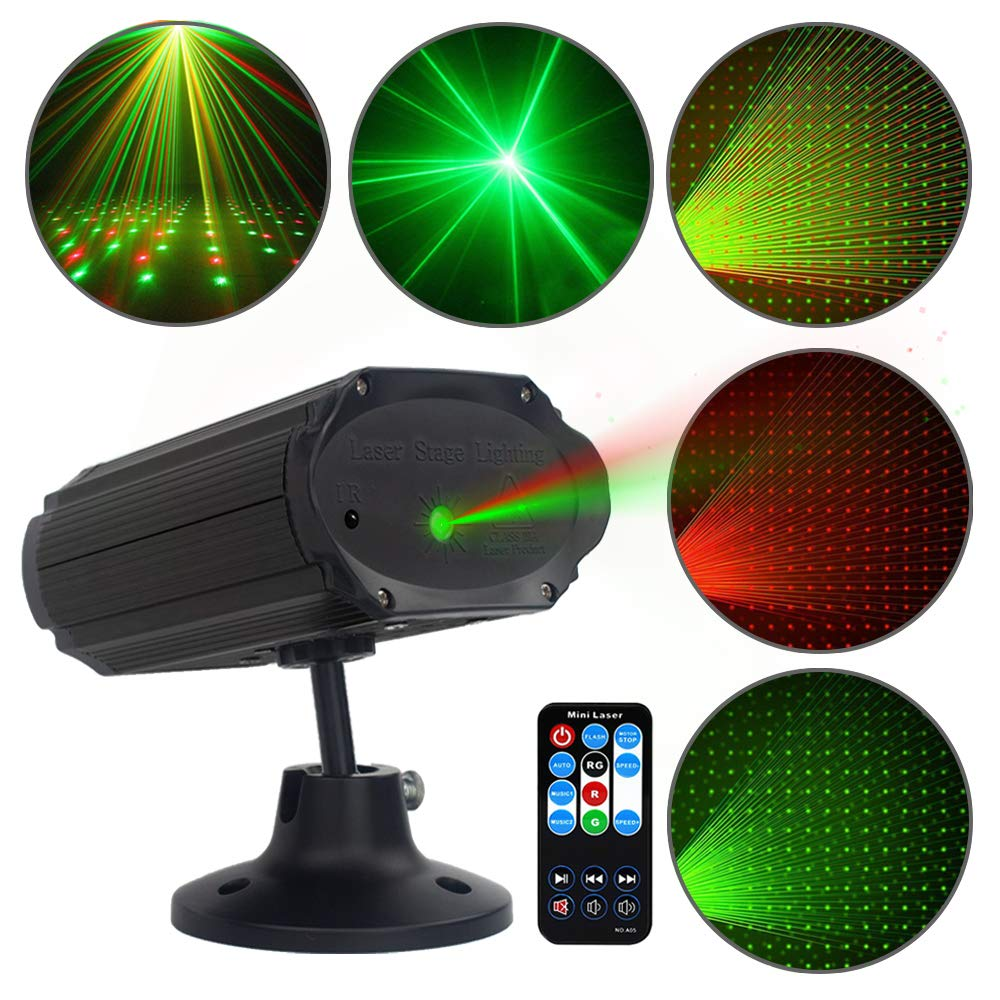 PParty Lights DJ Disco Light, Stage Lights SPOOBOOLA Sound Activated with Remote Control Mini Stage Lights Strobe Projector for Club Home Party Ballroom Bands Wedding Show Bar Karaoke KTV by SPOOBOOLA