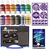 Master Airbrush Cake Decorating System, Precision Dual-action Gravity Feed Airbrush Set with Mini Air Compressor Plus 12 Chefmaster Airbrush Food Colors & 2 Sets of Airbrush Stencils with Case