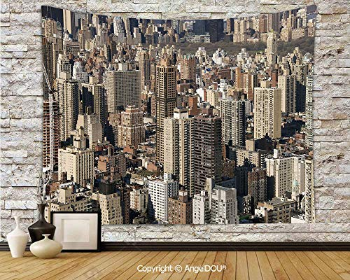 AngelDOU United States Camping Tent Travel Mattress Tapestry Aerial New York City Famous Town of The World North American Capital Image Decorative Polyester Thin Tapestry.W70.8xL59(inch)