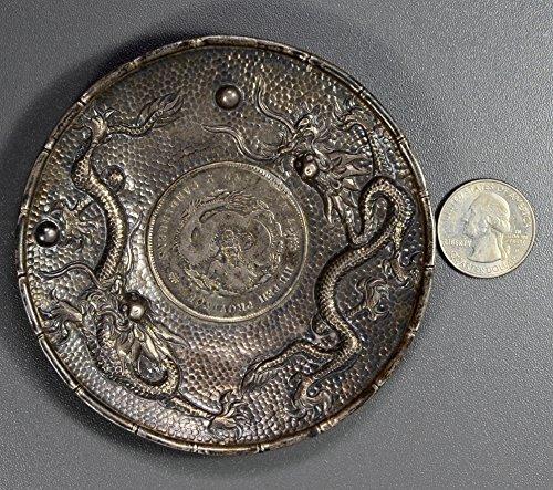CN BU0227 China Dollar vintage coin ash tray double dragon hand made from republic china, 2oz silver DE PO-01