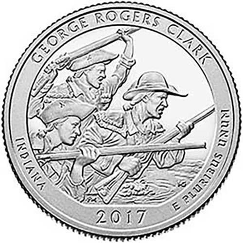 2017 S Silver Proof George Rogers Clark  Indiana National Park Np Quarter Gem Proof Us Mint