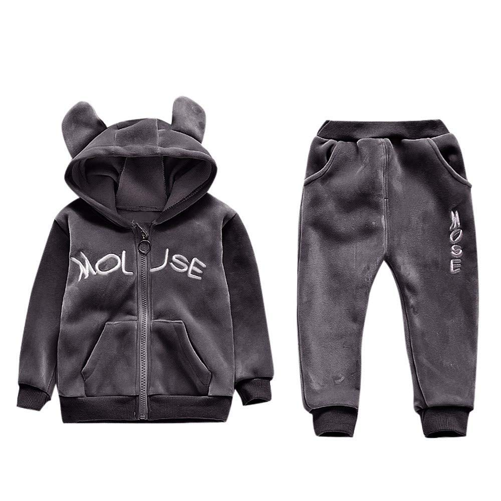 FORESTIME 2PCS Winter Warm Outfit for Toddler Baby 0-3 Years Hoodie Coat Jacket Thick Warm Outerwear+Pants Outfits