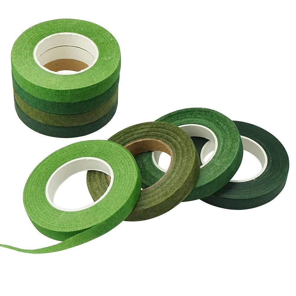 Shxstore Green Floral Stems Wrap Tape florist crafts For Bouquet Flowers Stem arrangement supplies 1/2 Inch x 30 Yards, 8 Rolls