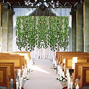 Hogado 84 Feet Artificial Hanging Plants Fake Vines Silk Ivy Leaves Greenery Garland for Wedding Kitchen Wall Outdoor Party Festival Decor 3