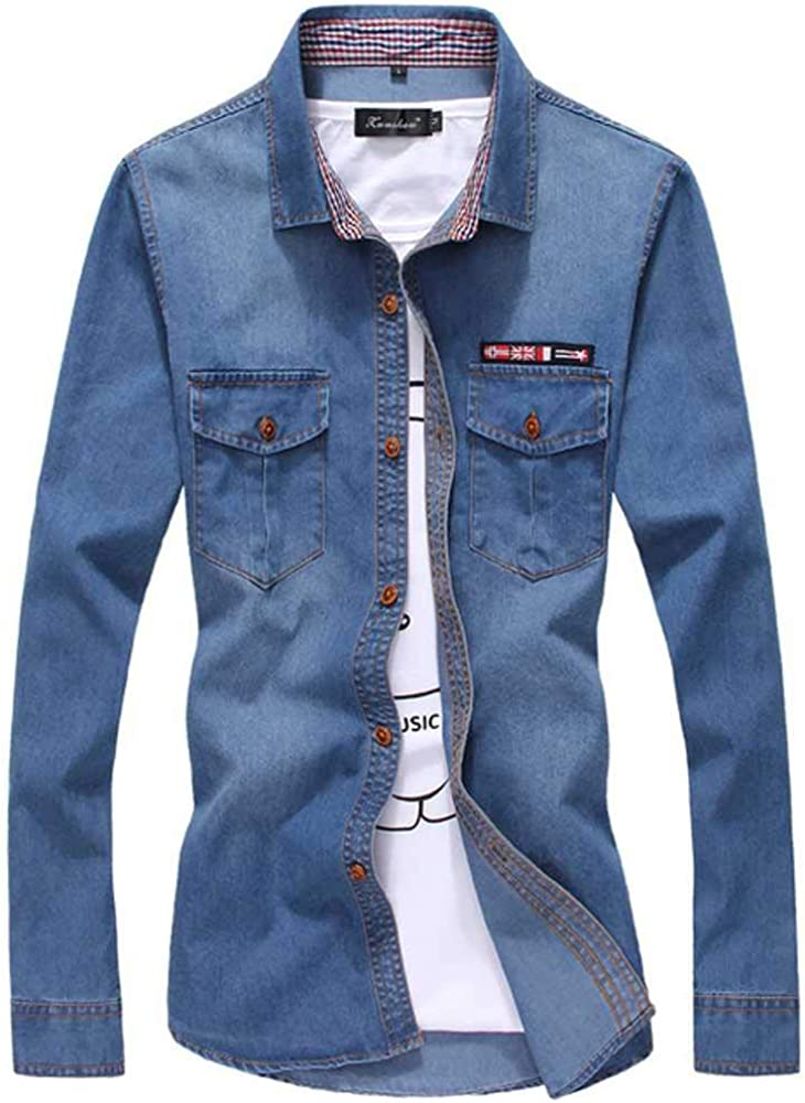 U/A Camisa de mezclilla fina para hombre, manga larga, suave, 100% algodón, dos bolsillos, delgada, ligera, elástica, vaquera, vaquero vaquero: Amazon.es: Ropa y accesorios