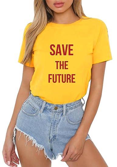 HappyGo Personalidad Mujer Manga Corta Cuello Redondo Camisetas Algodón Casual Carta Impresión T Shirt Blusas Camisas Niñas Tops Tee: Amazon.es: Ropa y ...