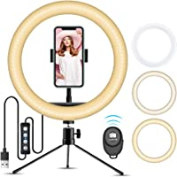10' Ring Light with Stand, Doosl Selfie Ring Light Tripod with Phone Holder - 10'' Desk LED Ring Light with 3 Light…