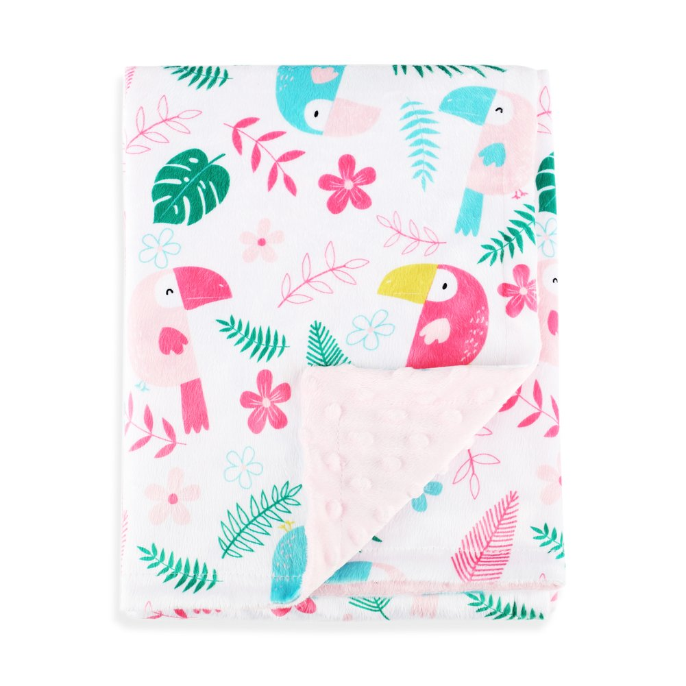 Boritar Baby Blanket Soft Minky with Double Layer Dotted Backing, Lovely Animals Printed 30x40 Receiving Blanket SIBORUI YT002H