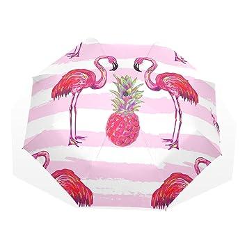 GUKENQ - Paraguas de Viaje, diseño de flamencos Tropicales, Color Rosa, Ligero,