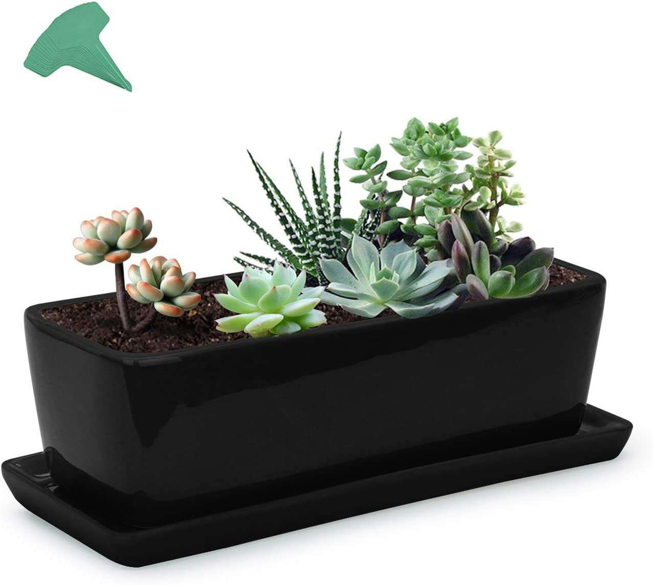 GROWNEER 14 Inches Rectangular Black Ceramic Succulent Planter Pot Window Boxes Flower Pots with 15 Pcs Plant Labels, Porcelain Planters with Saucer for Garden Patio Yard Bedroom Living Room
