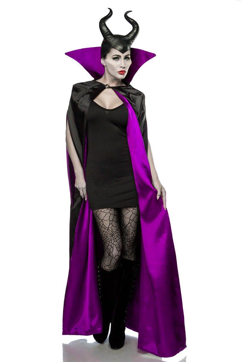 Damen Halloween Feen Teufel Kostüm aus Cape, Kleid, Strumpfhose skinny eng, Hörnermaske in schwarz/lila OneGröße XS-M dunkel