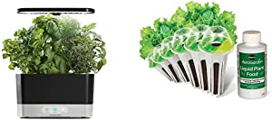 AeroGarden Black Harvest Indoor Hydroponic Garden, 2019 Model & Salad Greens Mix Seed Pod Kit