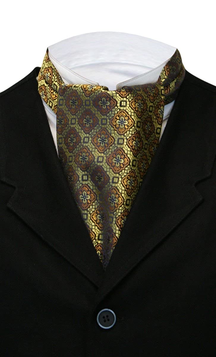 Historical Emporium Mens Satin Geometric Medallion Ascot