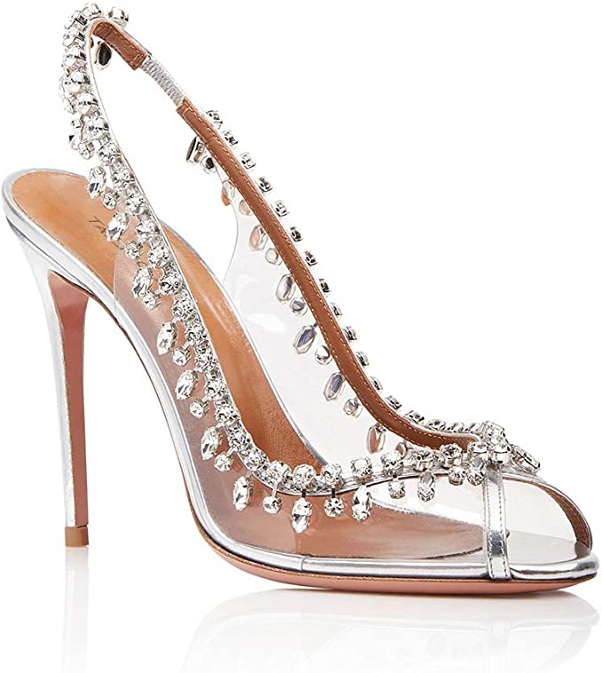 ZM Shoes Damen peep toe Strass High Heels Sandalen Spitz
