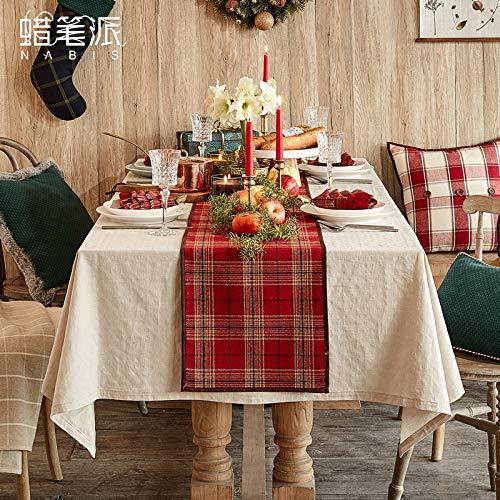 QIGE Manteles Mantel Mesa De Navidad Bandera Simple Celosía Mesa ...
