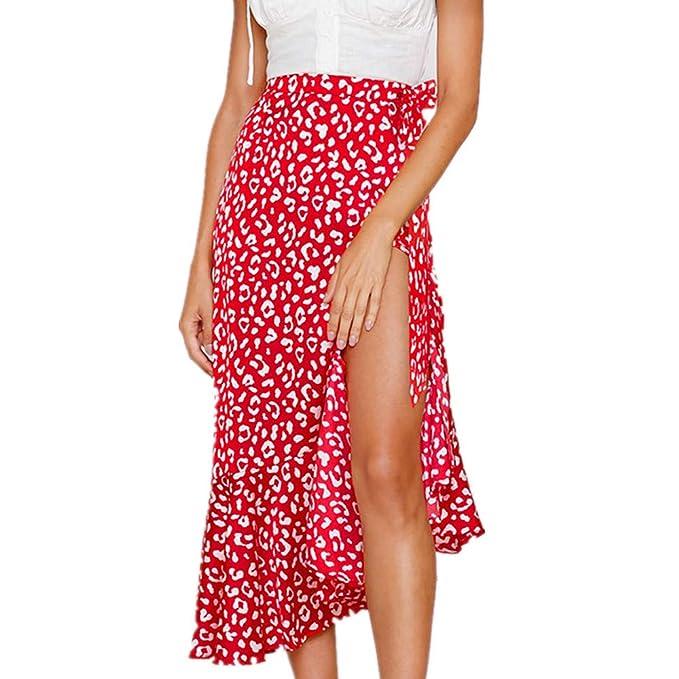 7c835c212f Amazon.com: Womens Maxi Skirts Elastic Waist Boho Print Skirt Vintage A-line  Ruffle Hem Long Skirt Swing Skirts: Clothing