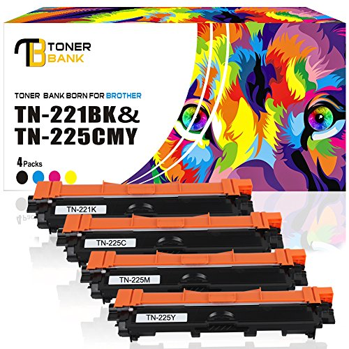 Toner Bank 4 Packs TN221 TN225 Compatible for Brother TN221 TN225 TN221BK Brother MFC-9130CW MFC 9130CW Toner HL-3170CDW Toner for MFC-9130CW MFC 9130CW HL-3140CW MFC-9330CDW MFC-9340CDW MFC 9340CDW