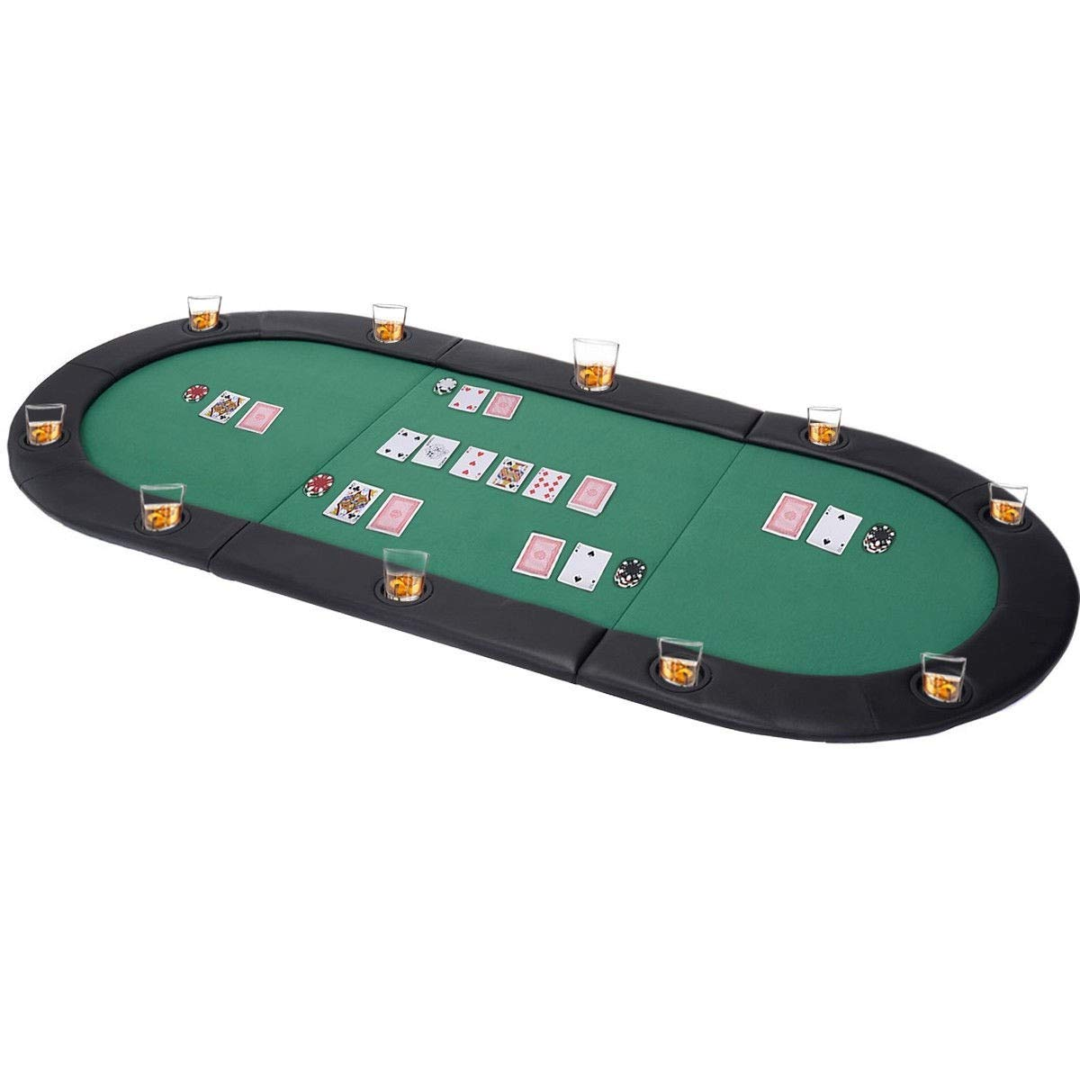 MRT SUPPLY 79'' x 36'' 8 Players Texas Holdem Foldable Poker Table Top with Ebook