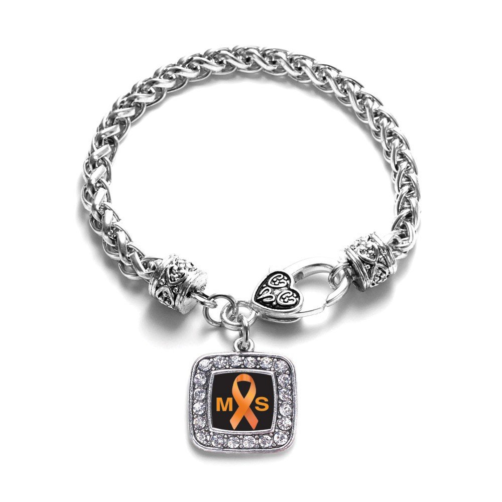 Multiple Sclerosis Awareness Classic Silver Plated Square Crystal Charm Bracelet