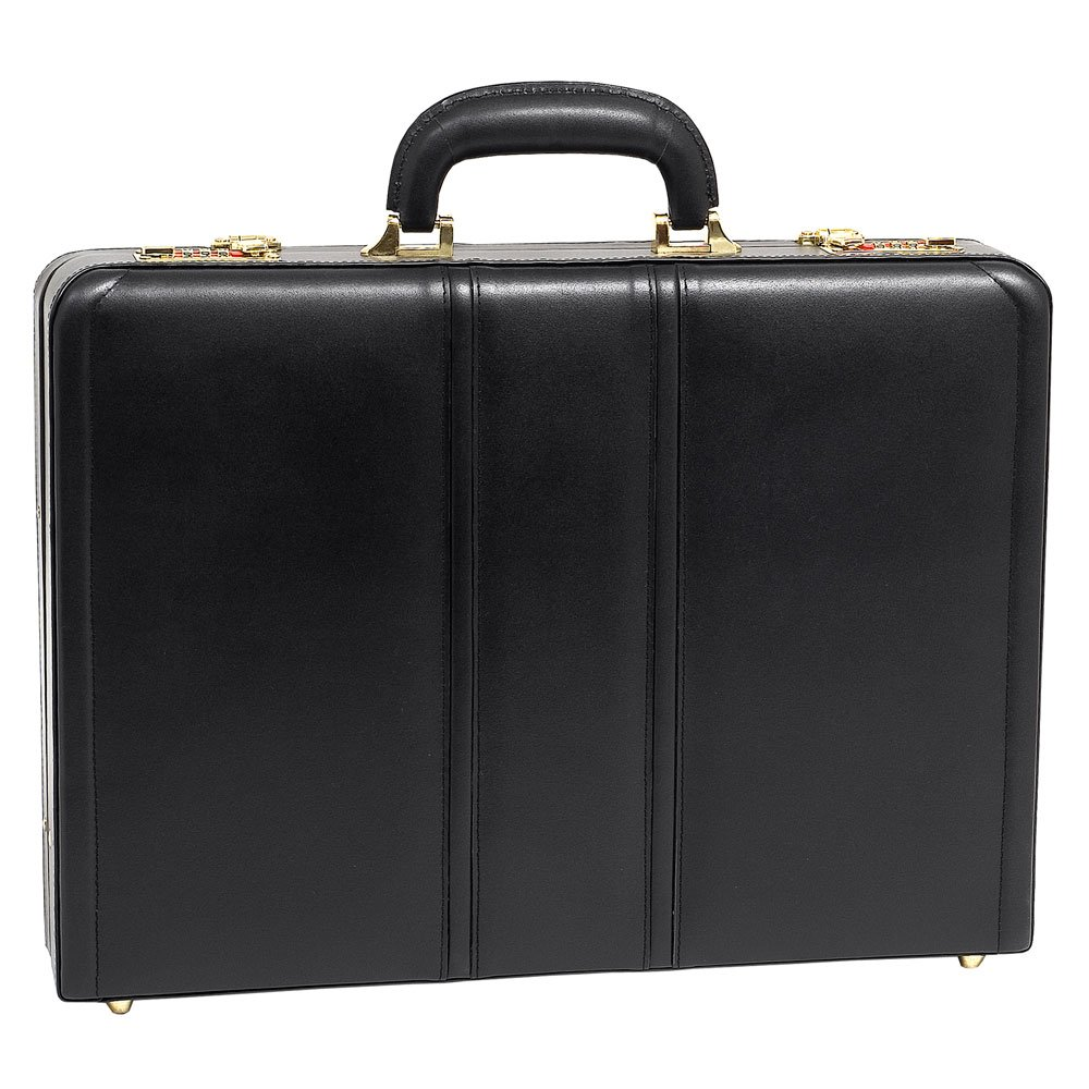McKlein USA Daley Slim Attache Case V series Leather 18'' Briefcase in Black