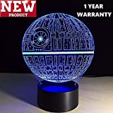 3D Lamp Death Star (newest model) Table Lamp Optical Illusion Visual Led Night Light for Star Wars, Elstey 7 Colors with Acrylic Plate& ABS Base& USB Charge, Touch Sensitive Switch Lights