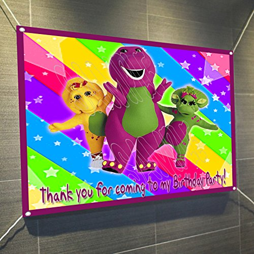 Barney Purple Dinosaur Large Vinyl Indoor or Outdoor Banner Sign Poster Backdrop, party favor decoration, 30