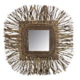 Essential Décor Entrada Collection Tea Tree Wooden Twig Mirror, 24 by 2.17 by 24-Inch