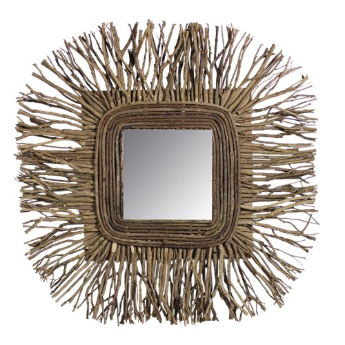 Essential Décor Entrada Collection Tea Tree Wooden Twig Mirror, 24 by 2.17 by 24-Inch by Essential Dcor Entrada Collection