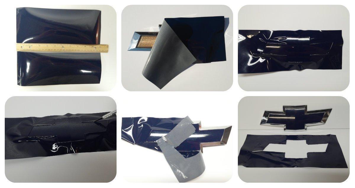 Black Matte VViViD Chevy Bowtie Logo Vinyl Wrap Sticker 11.8 x 4 Pack
