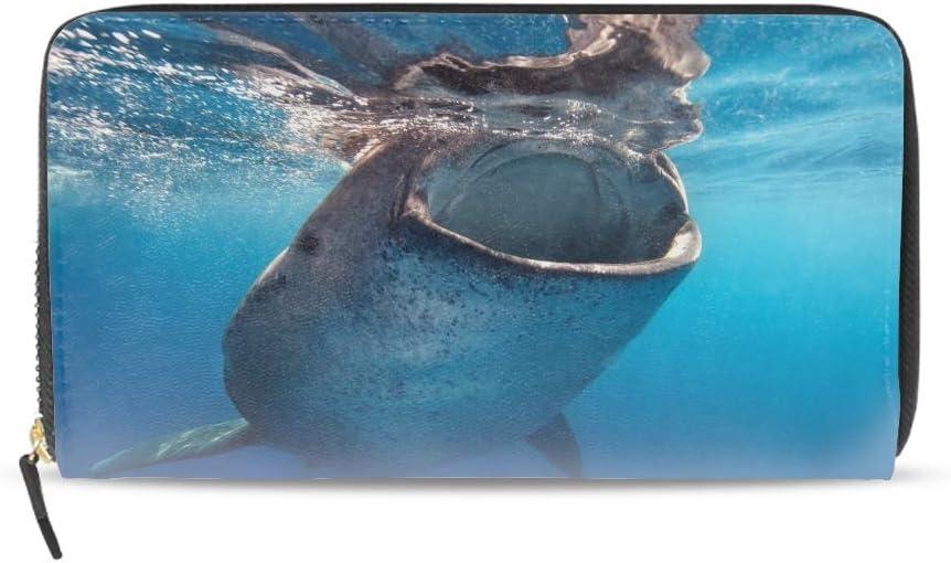 Women Genuine Leather Wallets Underwater Whales Credit Card Holder Organizer Ladies Purse Zipper Around Clutch Cash Pocket
