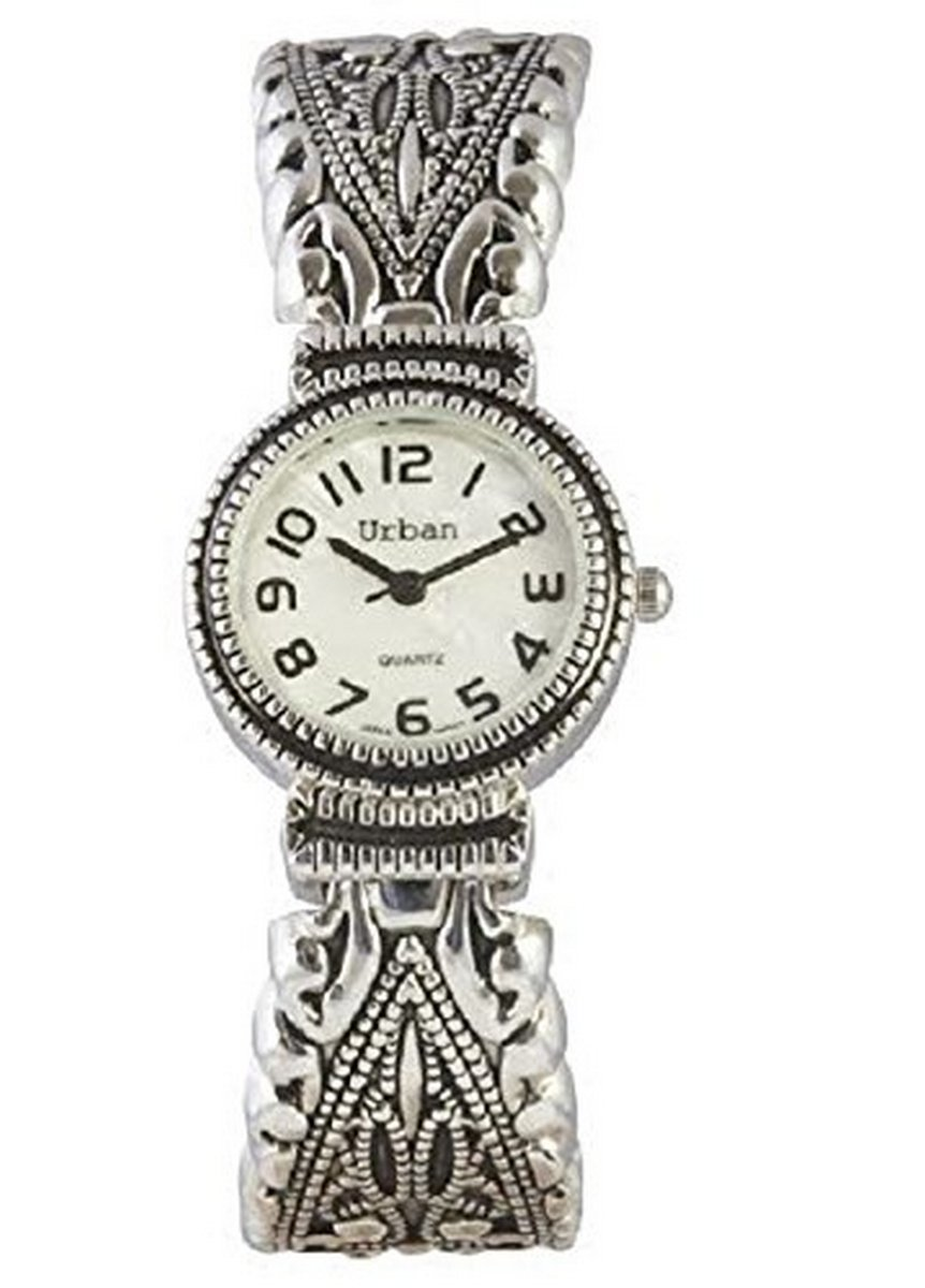 Urban / JAS Silver Plated Ladies Bracelet Bangle Metal Watch Antique Marcasite Style Extra Battery