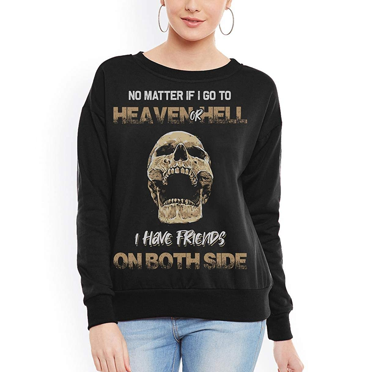 Heaven or Hell i Have Friends on Both Side t-Shirt for Cool Men Women Sweatshirt tee
