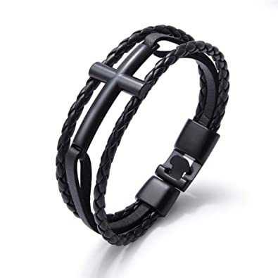LiFashion LF Men's Stainless Steel Leather Braided Wristband Christ Holy  Bless Cross Leather Cuff Bracelets Handmade Christian Jewelry for Boyfriend