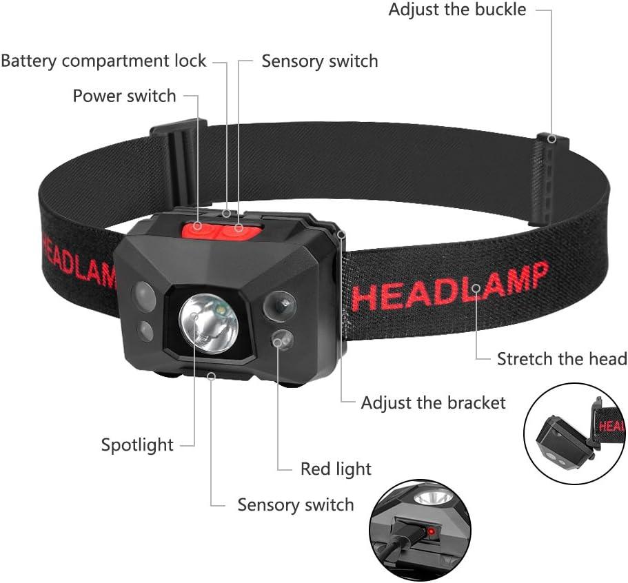 Correr Eletorot USB Recargable Linterna Frontal LED Linterna de cabeza Luz Frontal Lamp/ára de Cabeza,5 Modos de luz,Ligera El/ástica para Ciclismo Deporte nocturno