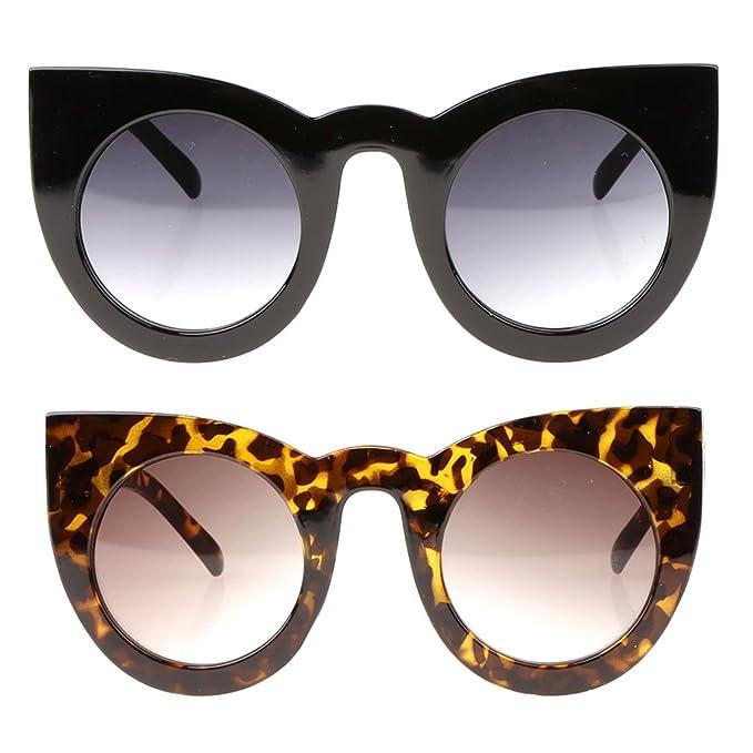 450326c625 Image Unavailable. Image not available for. Color  Jili Online 2pcs Men  Women Cat Eye Round Shades Sunglasses Fashion Eyewear Retro Glasses