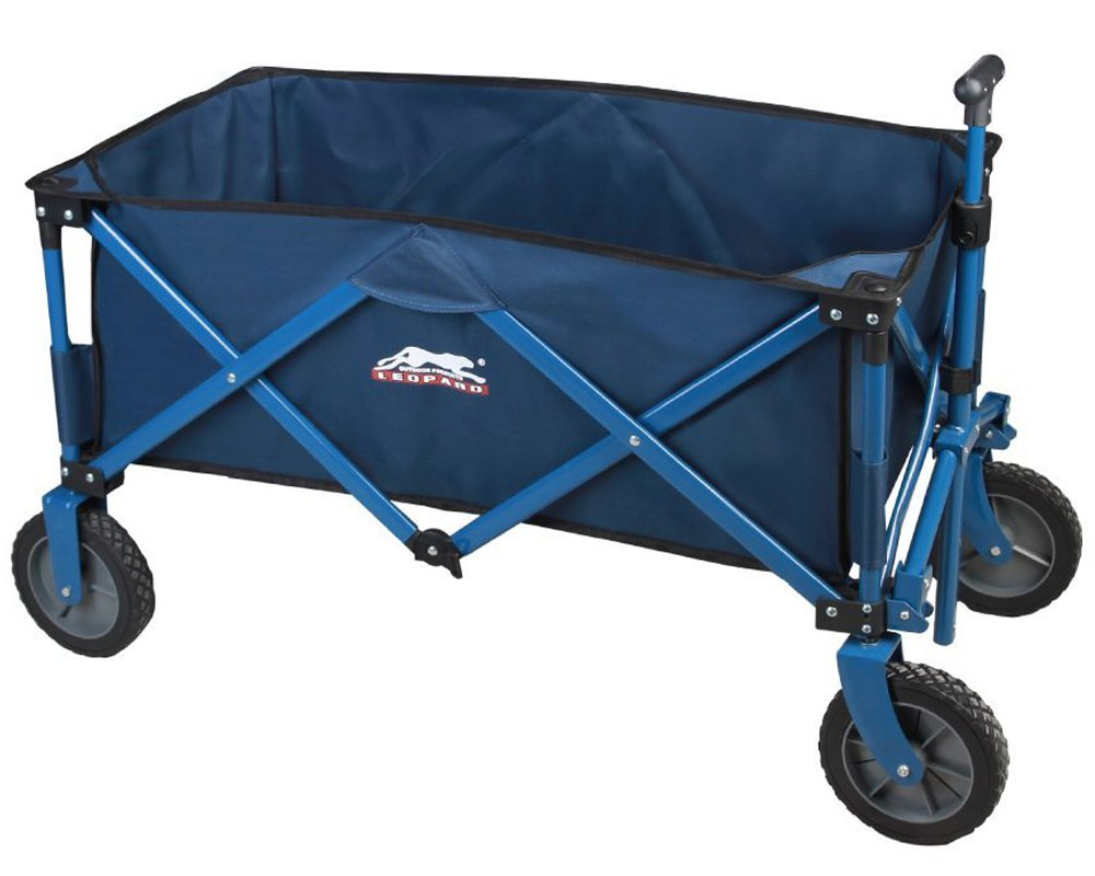Leopard Outdoor Sports Collapsible Utility Wagon,Portable Folding Utility Wagon,garden cart,Beach Cart,Great Camping Wagon, Shopping Cart,with hard bottom,5 cu. ft. Navy