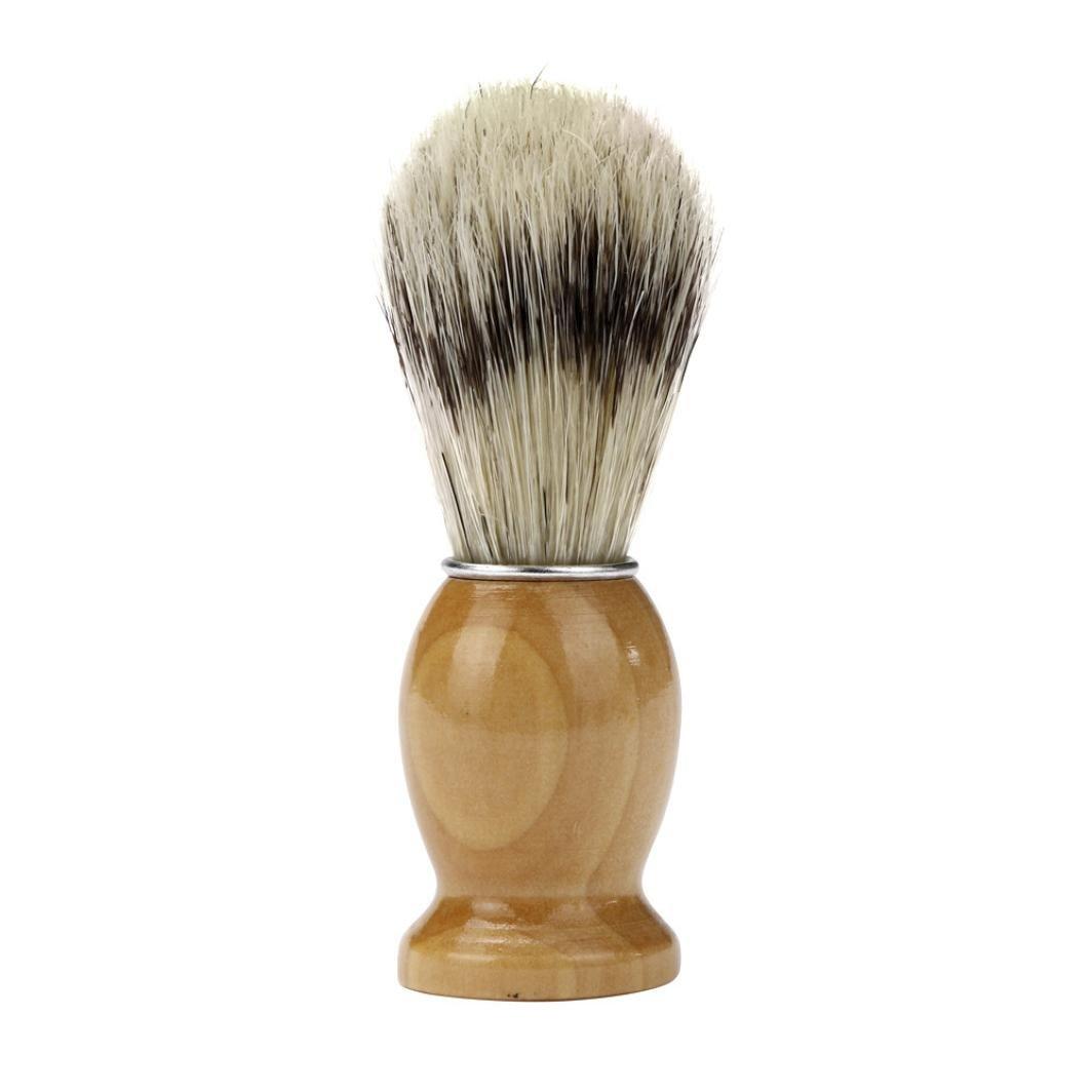 SANNYSIS Shave Shaving Professional Barber Salon Razor Brush Wood Handle Tool Yellow