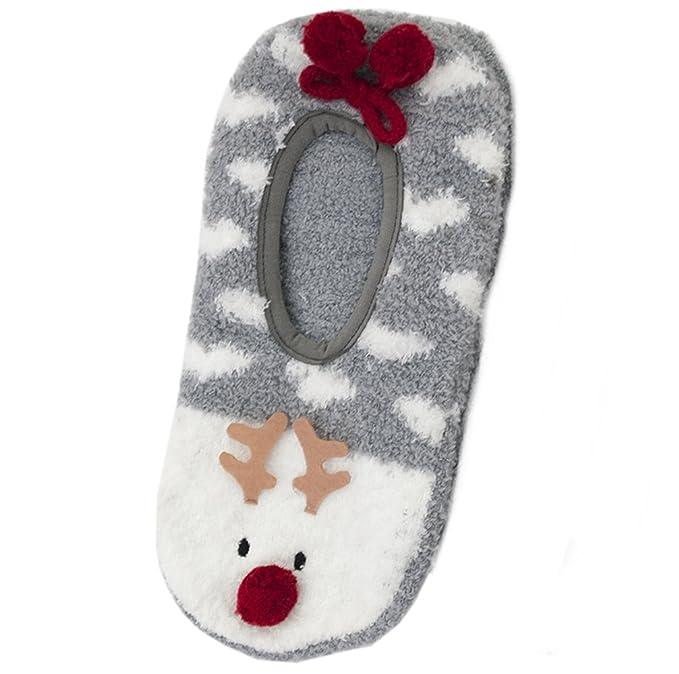 Foxbury - Calcetines de estar por casa - para mujer Grey - Reindeer Talla única (