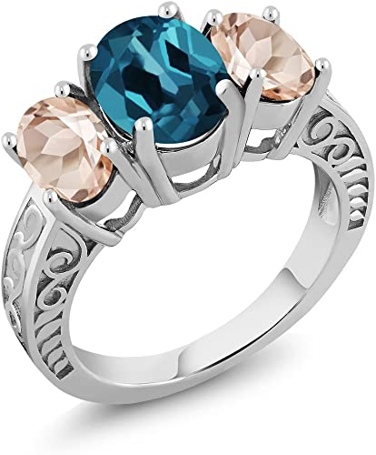 Blue Topaz Ring-Handmade Silver Ring925 Sterling Silver with white rhodium Ring,Anniversary Gift,Mothers day Gift,Wedding Gift,Birthday Gift