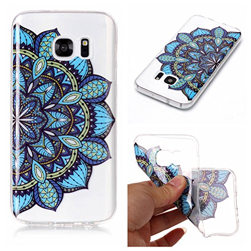 mokyo Samsung Galaxy S7Funda Suave, transparente Gel TPU Funda de silicona con [libre Stylus Lápiz] antigolpes antiarañazos Teléfono de buzón Super fina goma Rubber Carcasa Transparente jalea piel Sa azul flores