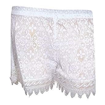 Womens/Ladies Cotton Crochet Beach Shorts (Small - US 8-10) (White)