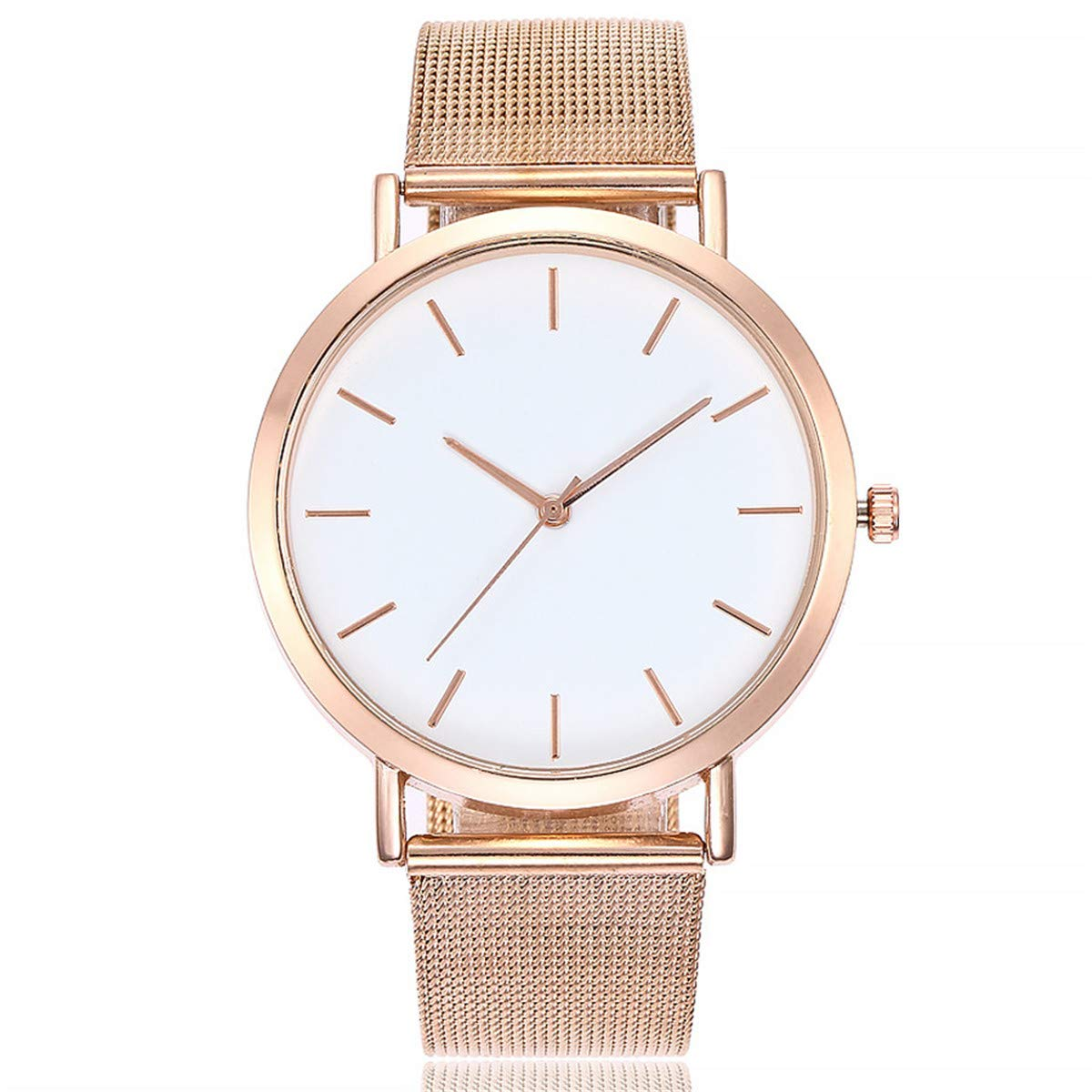 Fainosmny Womens Watch Fashion Jewelry Watch for Girls Stainless Steel Band Watch Casual Quartz Watch Analog Wrist Watch (Rose Gold, Free)
