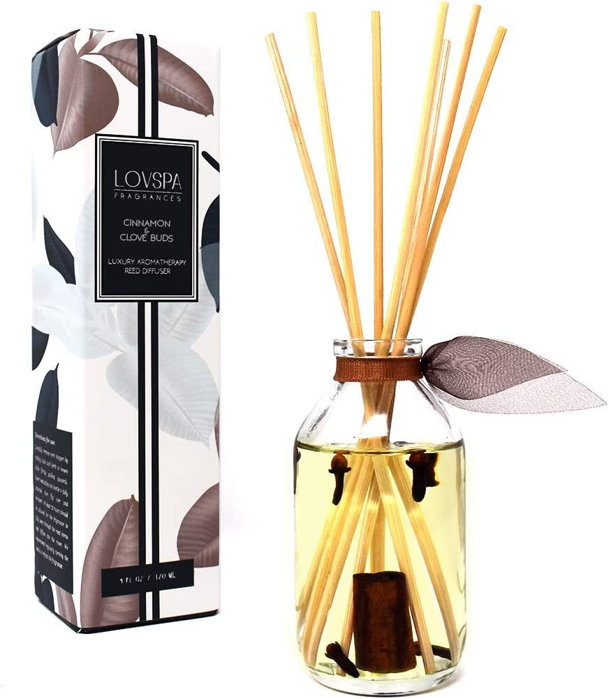 LOVSPA Cinnamon & Clove Buds Scented Sticks Reed Diffuser Set with Sweet Cinnamon, Warm Clove, Spicy Tonka Bean and Woody Notes, Fall-Autumn Room Scent Made in The USA