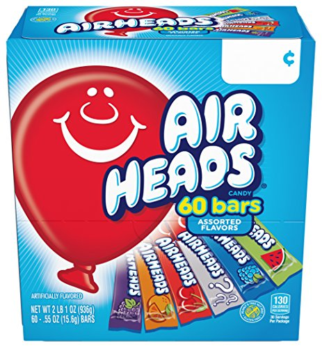 Airheads Candy Bars, Variety Halloween Bulk Box, Chewy Full Size Fruit Taffy, Back to School for Kids, Non Melting, Party 60 Count (Packaging May