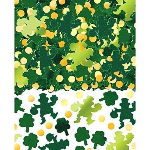 Amscan Lucky Irish Green Saint Patricks Day Shamrocks and Leprechauns Foil Confetti Party Decoration, Foil, 2.5 Ounces (2-Pack)