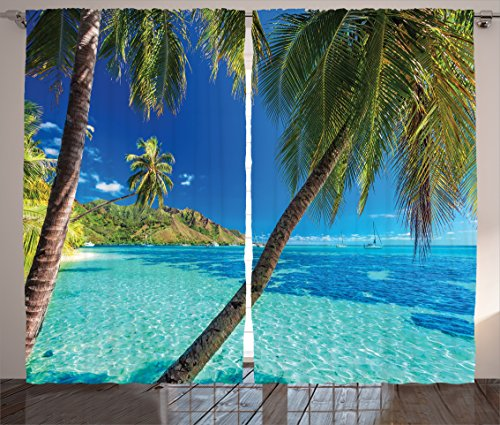 Ambesonne Ocean Curtains by, Image of a Tropical Island with The Palm Trees and Clear Sea Beach Theme Print, Living Room Bedroom Window Drapes 2 Panel Set, 108 W X 84 L Inches, Turquoise Blue