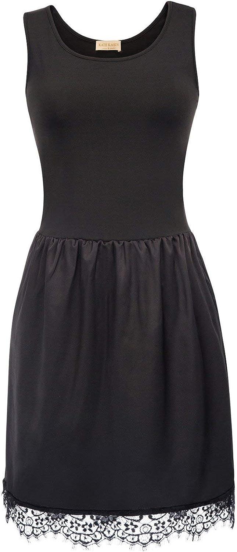 Kate Kasin Women Underdress V Neck Chemise Sleepwear Lace Trim Full Slips at  Women's Clothing store